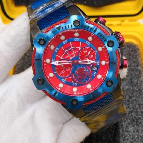 Relógio invicta bolt homen aranha aço inoxidável 100%