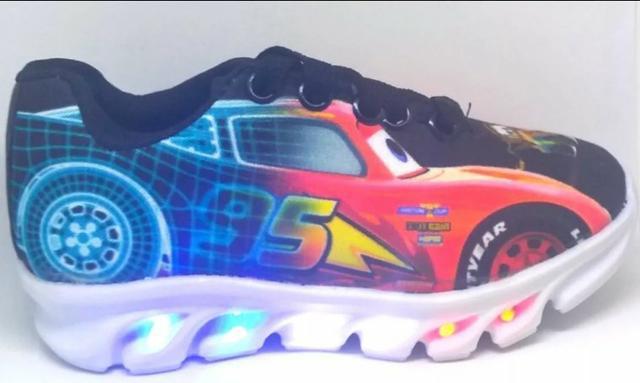 Tênis luz led infantil carros mcqueen promoção