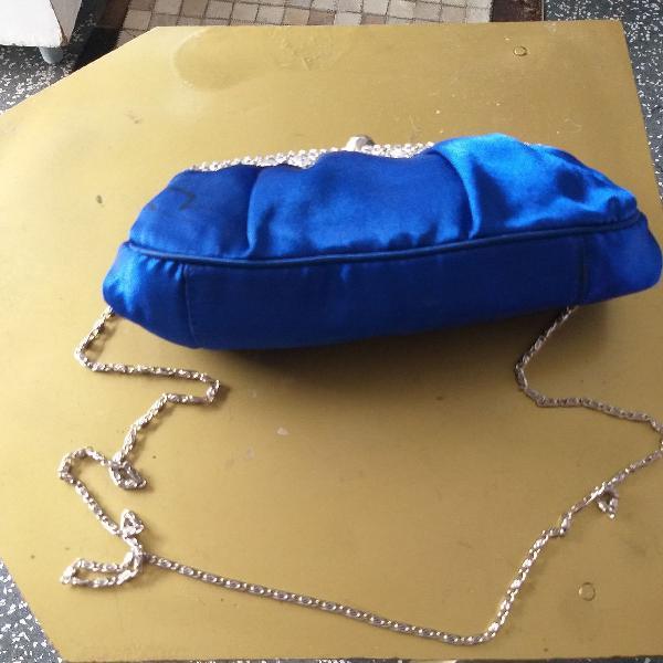 Bolsa da marca lá debbe france azul com detalhes brilho de