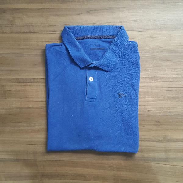 Camisa polo azul algodão
