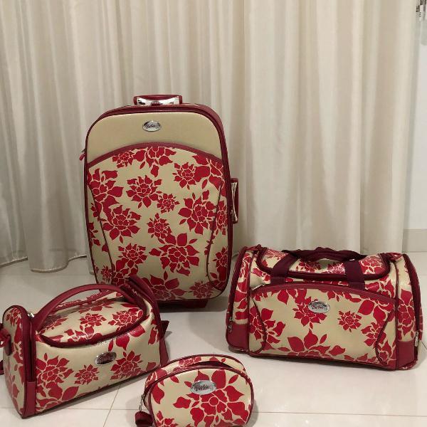 Kit de malas de couro original vermelha da barbie