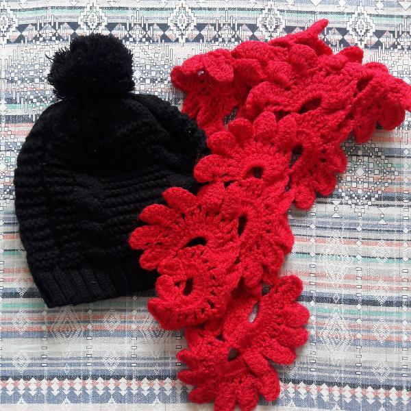 Kit touca e cachecol echarpe lenço manta artesanal