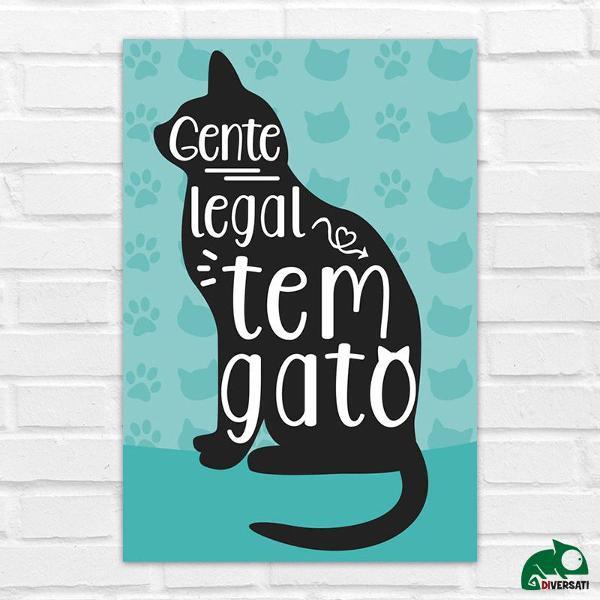 Placa gente legal gato azul