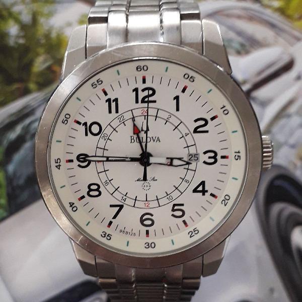 Relógio bulova gmt marine star 96b125