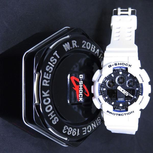 Relógio casio g-shock com lata em aço preto- branco top