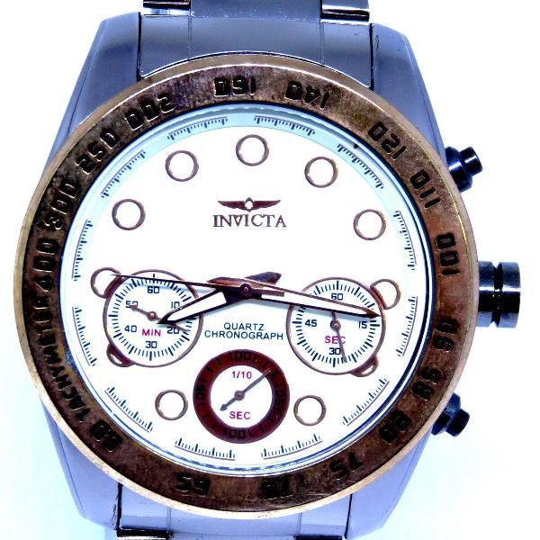 Relógio invicta reserve funcional grande prata