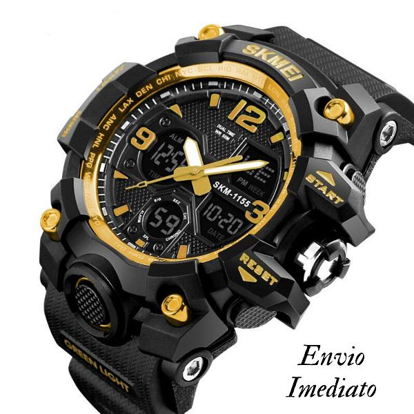 Relógio masculino analógico e digital esportivo skmei