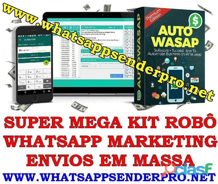 SUPER MEGA KIT ROBO WHATSAPP MARKETING ENVIOS EM MASSA