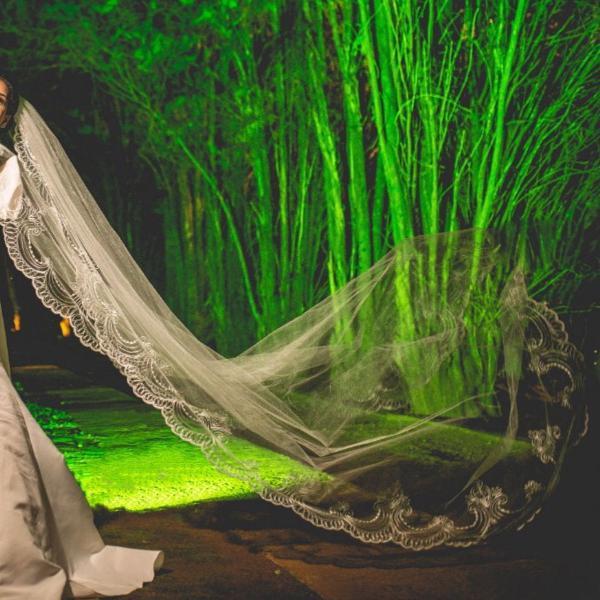 Véu de noiva 3m bordado