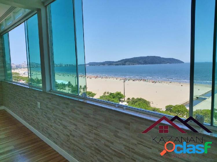 Vista mar mobiliado 3 dormitórios garagem praia do josé menino santos sp