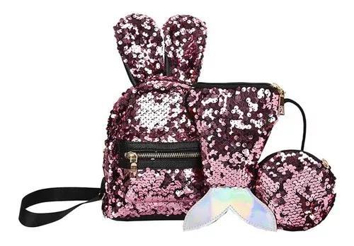 3 pçs/set mochila escolar lantejoulas mulheres coelho