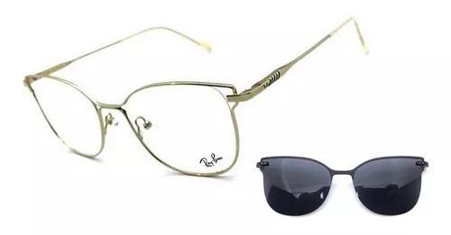 Armação oculos grau solar aluminium gatinho clip on