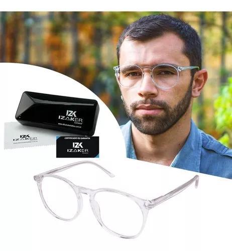 Armação óculos grau masculino redondo retrô izaker 2104