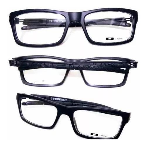 Armação óculos masculina currency preta. excelente