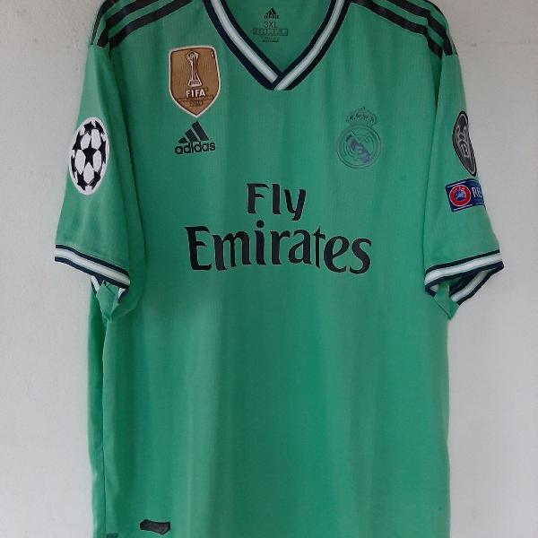 Camisa real madrid lll 2019/2020 verde benzema #9 + patch