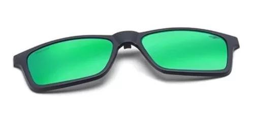 Clip on armação mormaii swap preto fosco verde espelhada