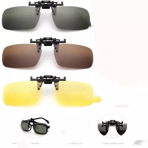 Clip on dobravel sobrepor óculos solar ou grau amarelo