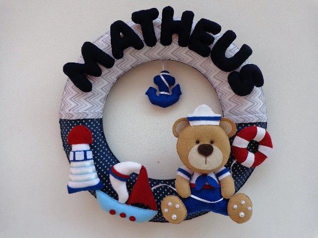 Enfeite porta maternidade urso marinheiro