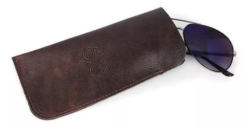 Estojo porta óculos 100% couro legítimo, rustico exclusivo