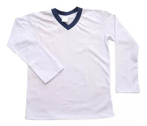 Kit 3 camiseta manga longa escolar uniforme 2/3/4/6/8