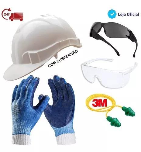 Kit proteção óculos + capacete + luva p/ obras