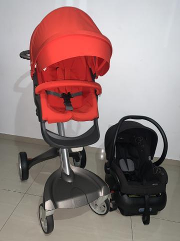 Kit carrinho stokke xplory v3 com bebe conforto e base