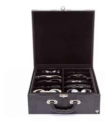 Maleta porta caixa estojo para 20 óculos couro ecológico