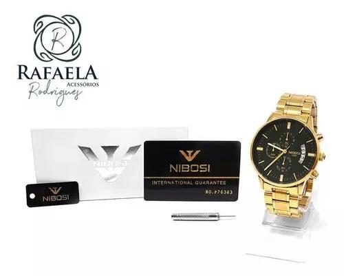 Relógio Masculino Nibosi Original C/ Cronógrafo Anti-risco