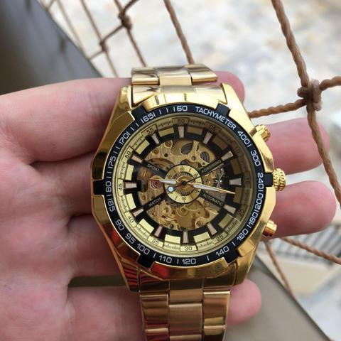 Relógio winner automático banhado a ouro novo