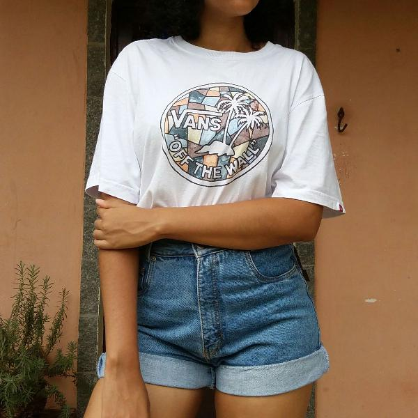 Camisa blusa t-shirt branca vans