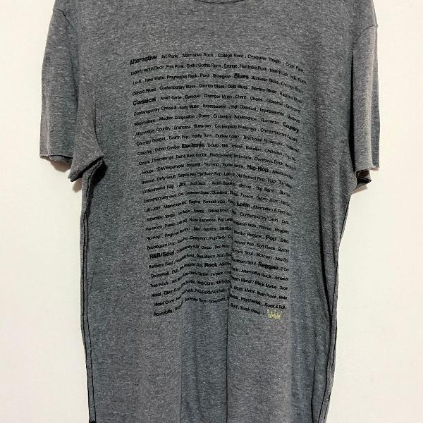Camiseta osklen gêneros musicais