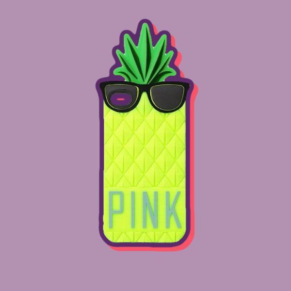 Capinha de silicone 3d abacaxi de óculos escuros da pink p/