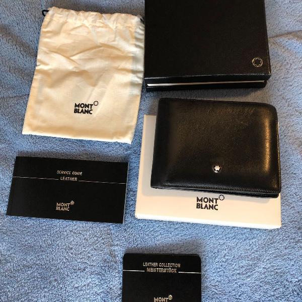 Carteira mont blanc couro 6 cartões - certificado e caixa