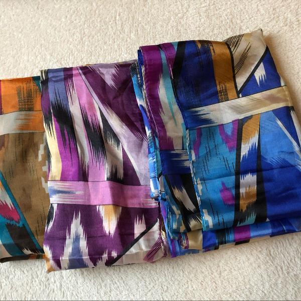 Kit 3 lenços leves estampados