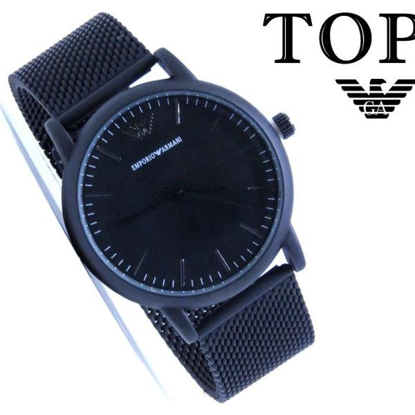 Relógio emporio armani preto fosco masculino top