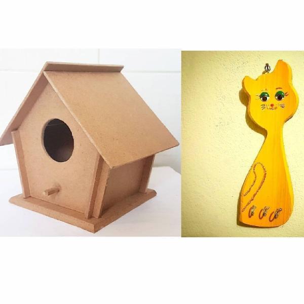 2 casinhas de passarinho de mdf e 1 porta chave gato