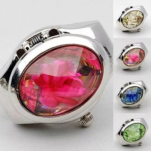 5 relógio anel com enfeite de flor várias cores moda