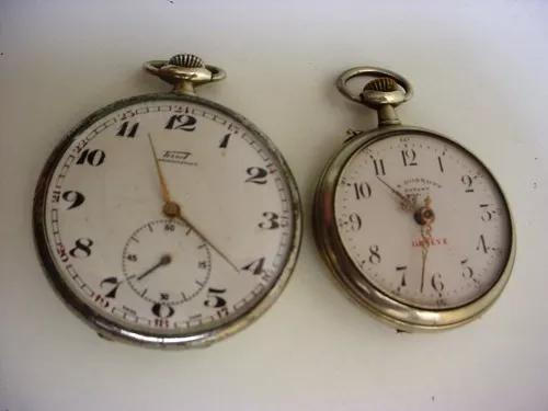 Antigo dois relógio bolso corda tissot, fe roskpp lê