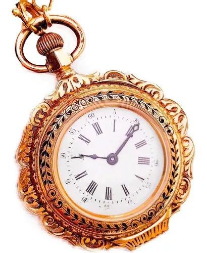 Antigo relógio de bolso suíço ouro 18k diamantes/pérolas