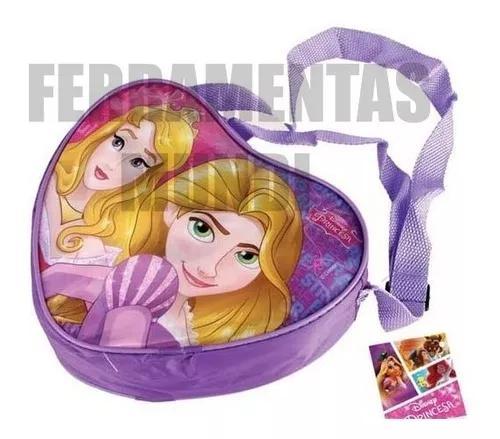 Bolsa bolsinha infantil princesas coração promoção rosa