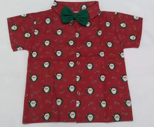 Camisa social de natal infantil menino