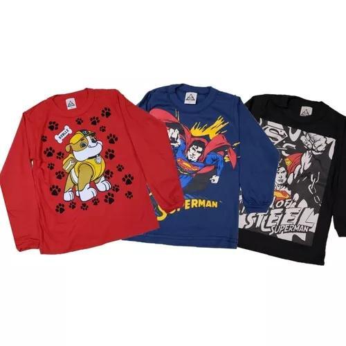 Kit 05 camiseta manga longa menino criança atacado oferta