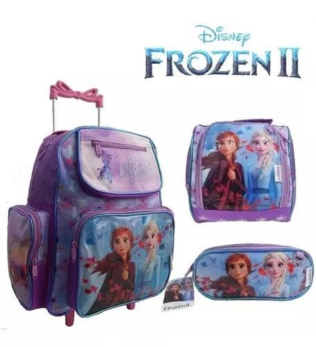 Kit mochila infantil escolar rodinha frozen lançamento top