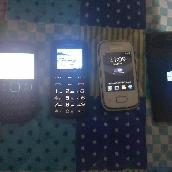 Lote quatro celulares samsung galaxy music, nokia qwerty,