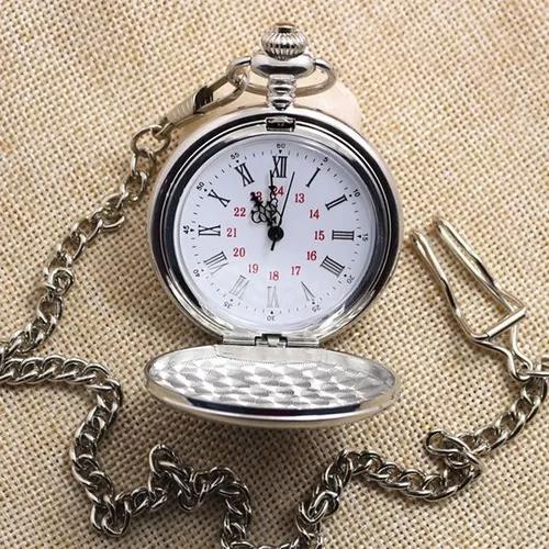 Relógio bolso quartz retro romano prata c/corrente