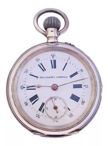 Relógio bolso suíço relojoario gondolo prata similar