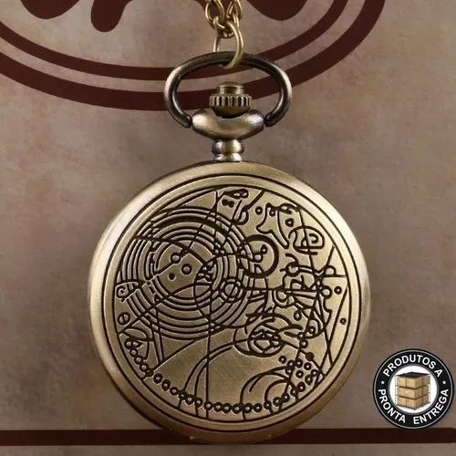 Relógio de bolso doctor who modelo de bronze com corrente