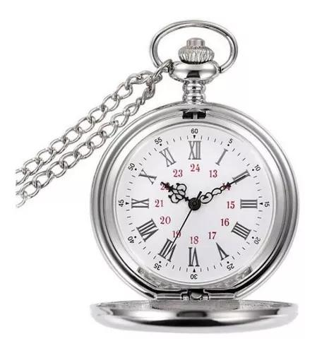 Relógio de bolso steampunk prata metal liso c/corrente