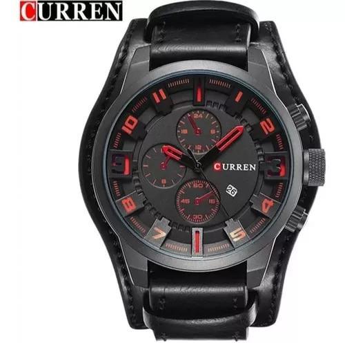 Relógio social curren 8225 analógico couro promoção