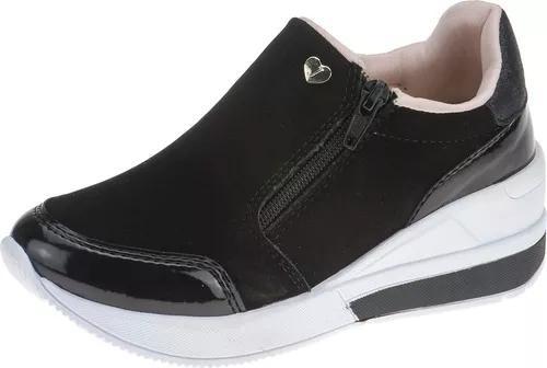 Tenis infantil menina moda casual sneaker ziper calce facil